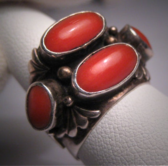 Vintage Native American Indian Coral Ring Silver Navajo
