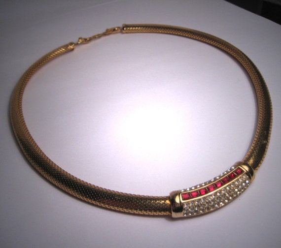 Choker Necklace Etsy: Vintage Christian Dior Necklace Choker Ruby France
