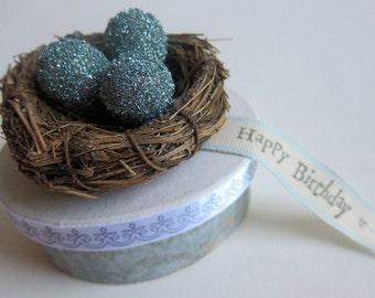 Happy Birthday Gift Box - Glittered Blue Eggs Nest - Keepsake - Treasure - Trinket - Jewelry - Romantic