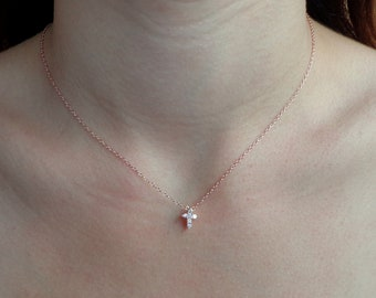 New - Tiny Rose Gold Pave CZ Cross Necklace - Modern Cross, Gift for her, Love, Faith, Trending, Delicate, Dainty, Gold Cross, Silver Cross