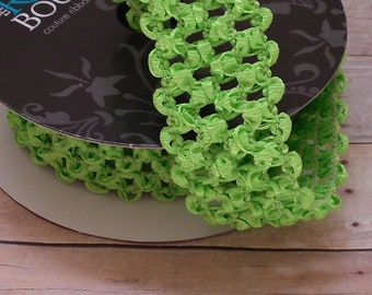 ELASTIC Lime Green Waffle Crochet Ribbon for Crafts, Headbands - 2 Yards X 1.5 Inches - Couture Ribbon