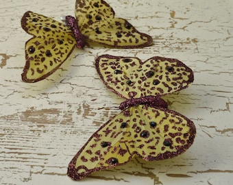 Feather Butterfly - TWO Jumbo Khaki and Purple Butterfly Embellishments On Clips - 5 Inches - Artificial Butterfly