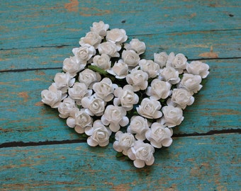 Paper Flowers - 36 Tiny WHITE Paper Roses for Scrapbooking, Favors, Wedding Invitations, Paper Crafting