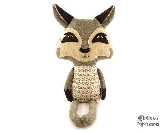 Wolf Sewing Pattern PDF Stuffed Woodland Toy Fairy Tale Softie
