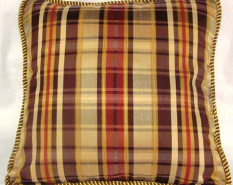 French Country Romantic Cottage Pillow Parisian Brown and Gold Plaid
