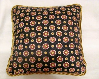 Provence Country French Pillow Black Red Ivory Gold Cottage Country Provencal Print