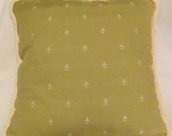 Country French Fleur De Lis Pillow Cottage Provence Provencal Roth Tompkins Green Ivory Lemongrass