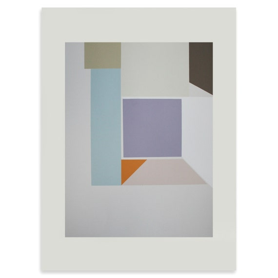 Large geometric modern screenprint in pastel shades, original and handmade, great home decor.