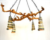"""OLD VINE  - """"Dolcetto"""" - Grapevine and Wine Barrel Ring Pendant Light Chandelier - 100% Recycled"""