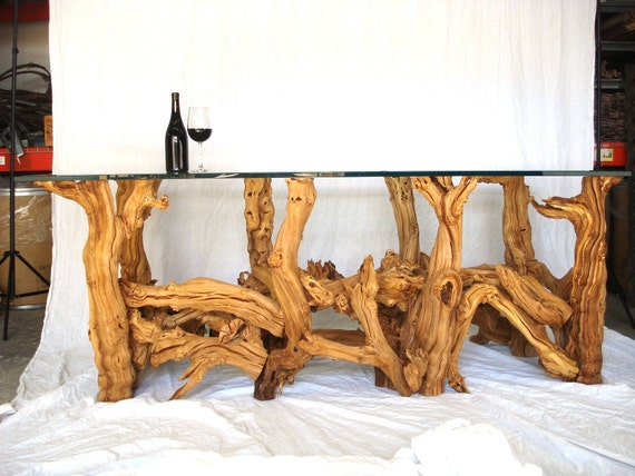 """VINYA -- """"Palomino"""" -- Old Vine Grapevine Rectangle Dining Table -- 100% Recycled"""
