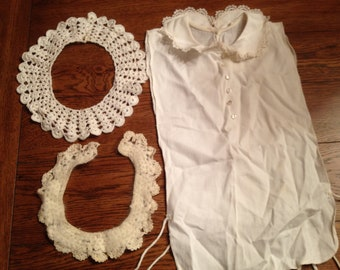 Vintage set of 3 Victorian Style Lace Crochet Collars All White