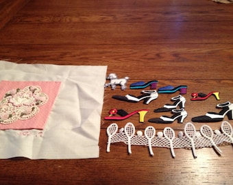 Assorted Grouping of Various Appliques and Trims, Roses, Flowers, Shoes, Poodles, Tennis