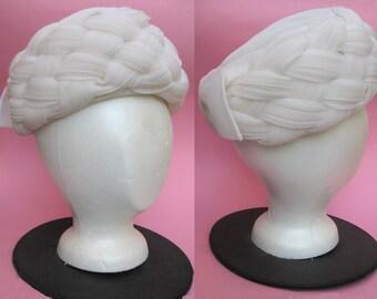 Vintage 50s Sheer White Basketweave Pillbox Hat - Anita Pineault Pure Snow White Organza Chiffon Bow Chic Light Midcentury Fashion 60s Mod