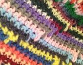 Crochet Afghan Vintage Rainbow Mulit Color Blanket Throw