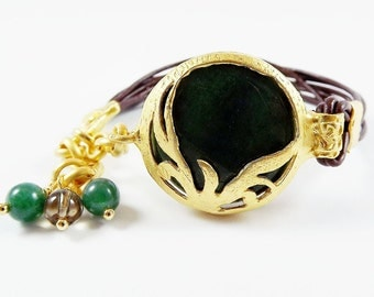 Green Jade & Brown Leather Turkish Leather Bracelet - Exotic Organic Bohemian  - Gold Plated - Spring fashion