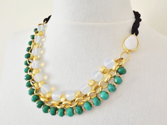 Layered Green & White Jade, Moonstone Opal  and Silk Necklace - Turkish Fashion