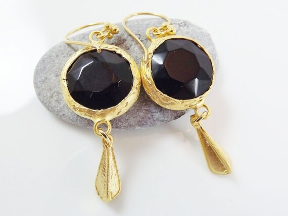 Dangly Onyx Earrings with Winged Charms & Vermeil Earwires  - Gold - Office Fashion
