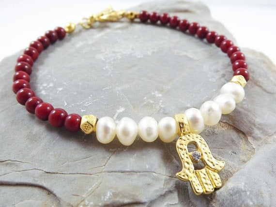 Delicate Hamsa Charm Stacking / Friendship Bracelet with Red Coral Beads & Freshwater Pearls