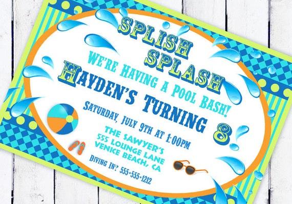 Pool Party Invitation - Splish Splash Pool Party Collection - Lime and Aqua - Gwynn Wasson Designs PRINTABLE