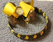 Army Girl Yellow and ACU Digitized weaved headband and boutique bow with flattened bottlecap center