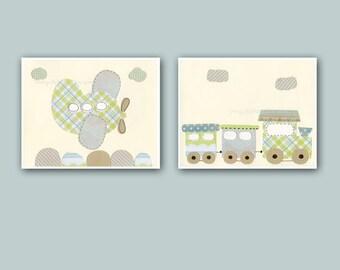 Nursery decor, kids art decor, nursery wall art // Airplain, choo choo train // Gray green blue // baby nursery room decor // Set of 2 11x1