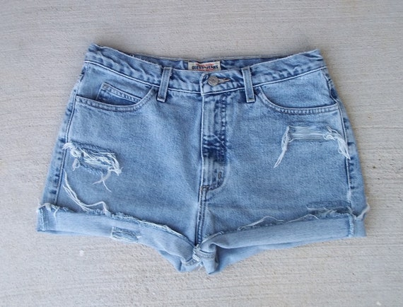 "CLEARANCE SALE - Distressed Shorts High Waist Vintage Denim Guess Cut Offs - US Size 9/10  - 30"" Waist - Priority Shipping"