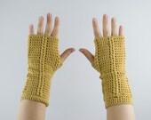 gloves crochet fingerless mittens in yellow mustard for her - wrist warmers, arm warmers - merino wool