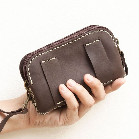 Leather Belt Bag/ Wristlet Pouch in Dark Brown