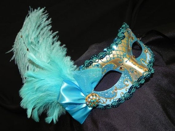 Masquerade Mask in Shades of Turquoise, Aqua and Gold