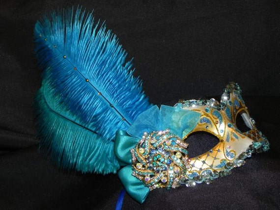 Masquerade Mask in Shades of Teal and Turquoise