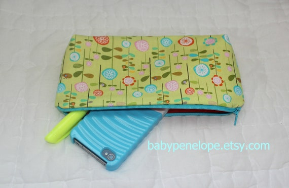 Clearance -Pencil Case/Cosmetic Bag/ Gadget Case - Riley Balke Happier - Flowers -  Ready to Ship