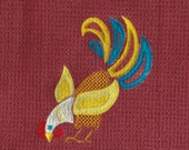 Folk Art Rooster 6 - embroidered microfiber kitchen towel