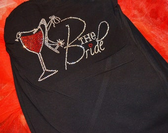 Bride Halter Top. Black Bride To Be Strapless Halter Top. Bachelorette Rhinestone Halter Top Shirt. Bridal Shower Gift. Bride to Be Gift.