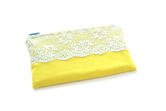 small yellow zipper pouch with vintage lace in pale blue / summer fashion / compact / cosmetic bag