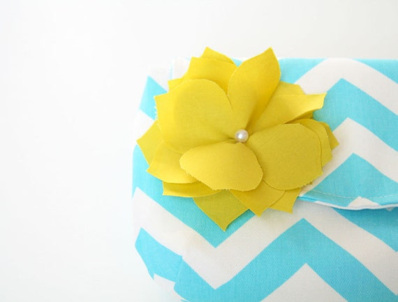reserved for Stephanie - chevron clutch purse in aqua and white with detachable fabric flower in bright yellow / bridesmaid