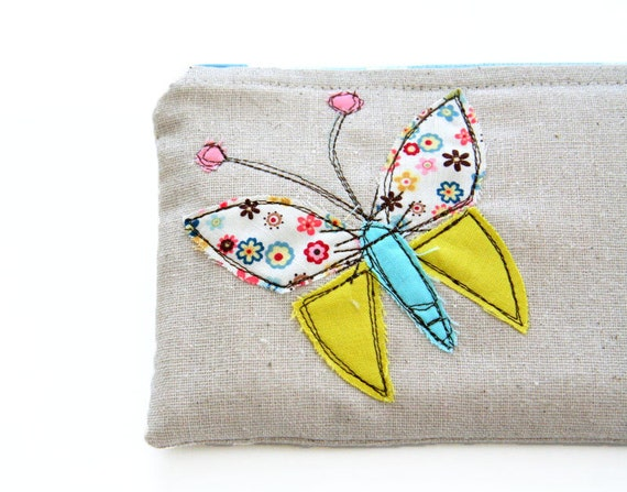 small zipper pouch with butterfly applique with freestyle stitching / summer fashion / compact / cosmetic bag