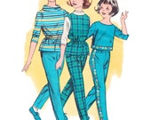 1950s Girls Blouse and Pants Vintage Pattern / Vintage 50s Butterick 9554/ Girls Top and Pants Coordinates/