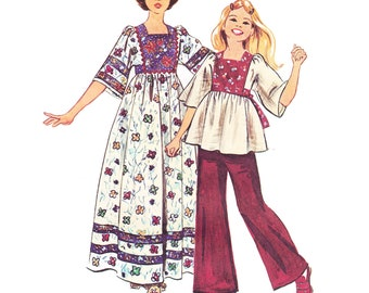 1970s Boho Girls Caftan Vintage Pattern - UNCUT and FF Simplicity 6001 - Girls Caftan Sewing Pattern