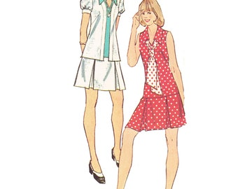 1970s Dress Vintage Pattern - UNCUT and FF Simplicity 6085 - Misses Unlined Jacket and One Piece Dress and Tie Pattern/ Size 8