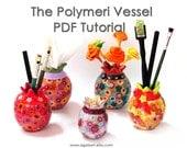 Polymer Clay  tutorial - The Polymeri Vessel. Pomegranate.  Polymer clay. PDF tutorial. Vessel.