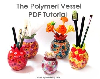 Polymer Clay  tutorial - The Polymeri Vessel. Pomegranate.  Polymer clay. PDF tutorial. Vessel.