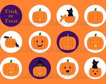 INSTANT Download / Halloween Jack-o-Lanterns one inch round DIGITAL Images for bottlecaps / Sheet No. 262L