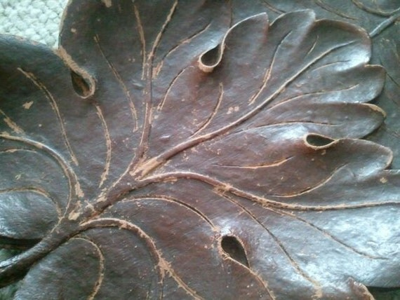 Vintage Wooden Oak Leaf Tray Made in USA  Syroco Wood 1940s Serving or Decorative Autumn