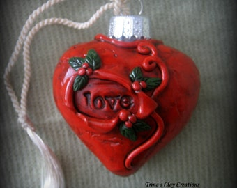 Christmas Ornament, Polymer Clay, Heart Love Ornament