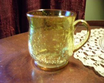 Yellow Crackle Glass Cup