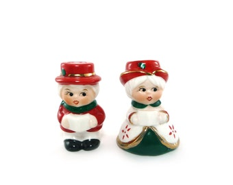 Vintage Christmas candle holders - holiday carolers, red green & white