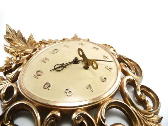 Syroco wall clock - Hollywood Regency gold filigree