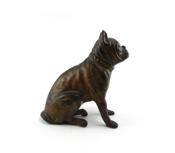 Antique cast iron still bank - AC Williams boxer penny bulldog bank original french roast brown