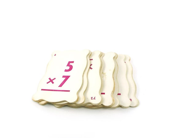 Vintage flash cards - pink and white multiplication flashcards