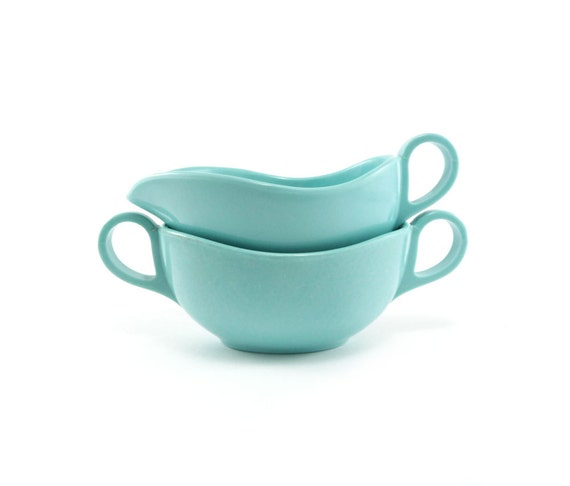 Aqua melamine cream and sugar set - vintage teal serving set